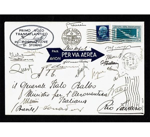 1930-31 Aerogramma Balbo Crociera Transatlantica con firme