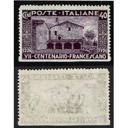 1926 Varietà San Francesco non dentellato in basso Sas.194e MNH/**