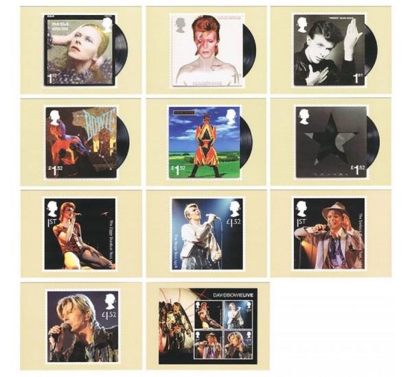 2017 Gran Bretagna David Bowie set 11 Cartoline ufficiali