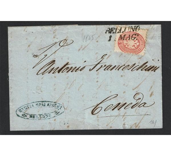 1865 Lettera da Belluno per Ceneda con testo Sas.43