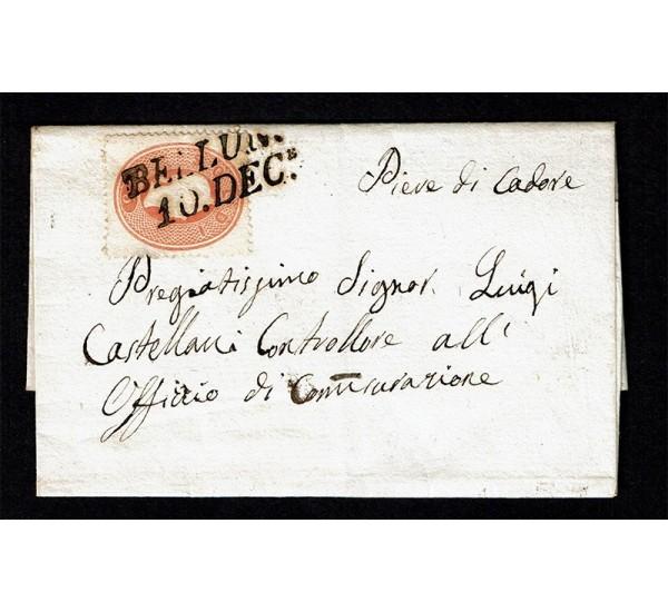 1861 Lettera da Belluno per Piave di Cadore Sas.33