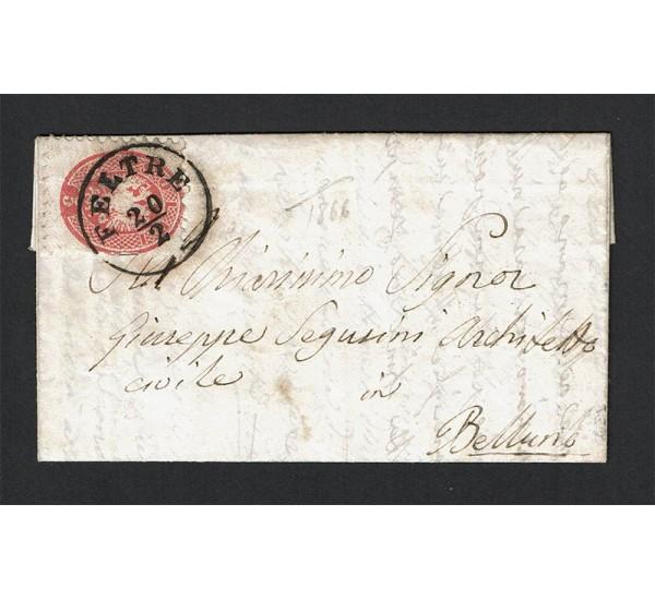 1866 Lettera da Feltre per Belluno con testo Sas.43