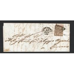 1856 5Baj Pontificio su lettera da Bologna a Livorno