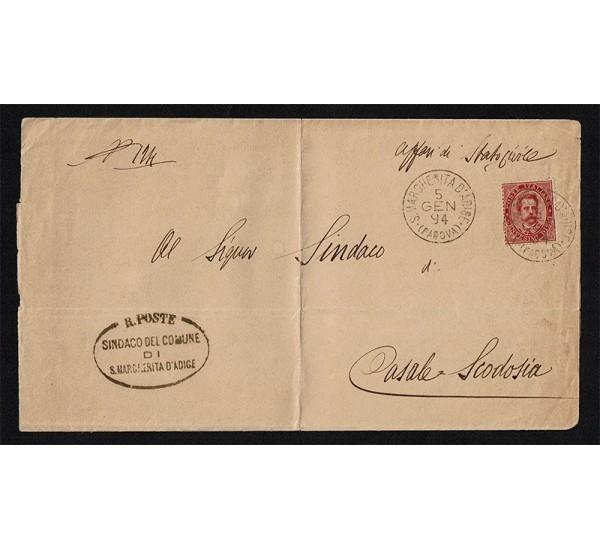 1894 lettera da S.Margherita D'Adige a Casale Scodosia Padova