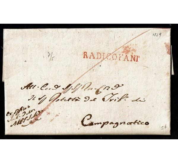 1829 Prefilatelica con testo da Radicofani (Siena) a Campagnatico