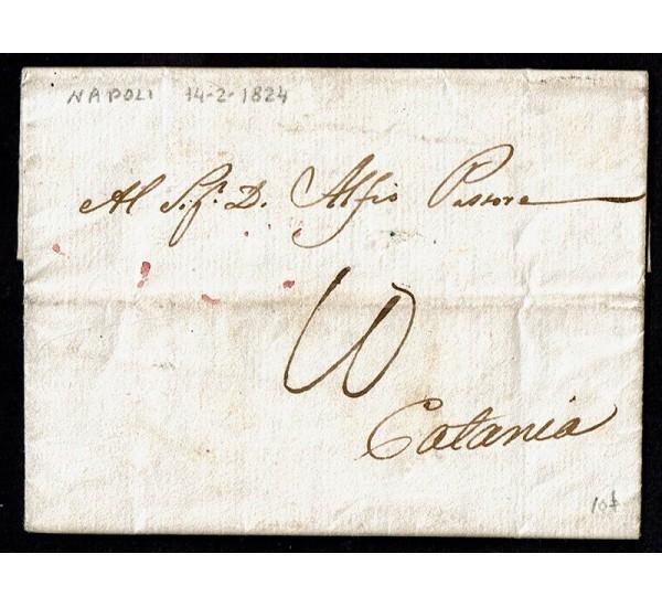 1824 Prefilatelica Napoli per Catania