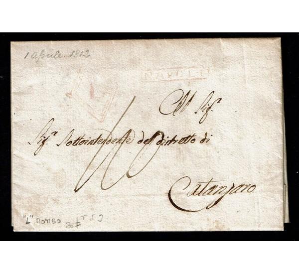 1812 Prefilatelica da Napoli a Catanzaro 'L' in Rombo rosso