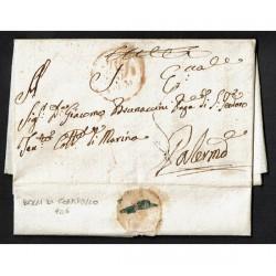 1825 Prefilatelica da Messina a Palermo con testo