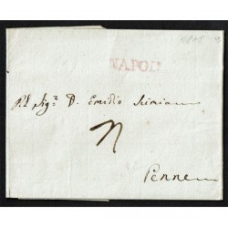 1808 Prefilatelica da Napoli a Penne (Pescara) con testo