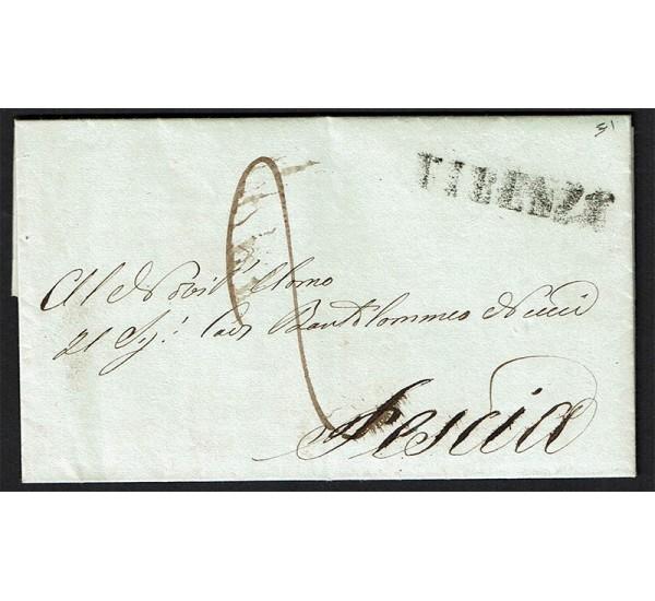 1843 Prefilatelica da Firenze a Pescia con testo