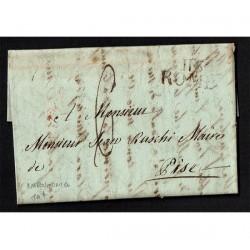 1811 Prefilatelica Napoleonica da Roma a Pisa con testo