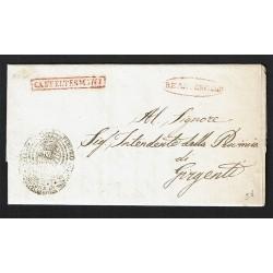 1853 Prefilatelica da Casteltermini a Girgenti con testo