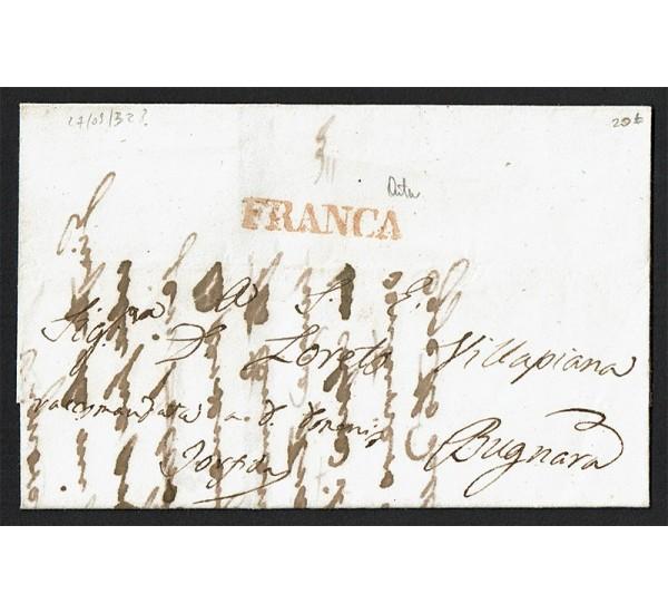 1832 Prefilatelica da Bugnara FRANCA con testo