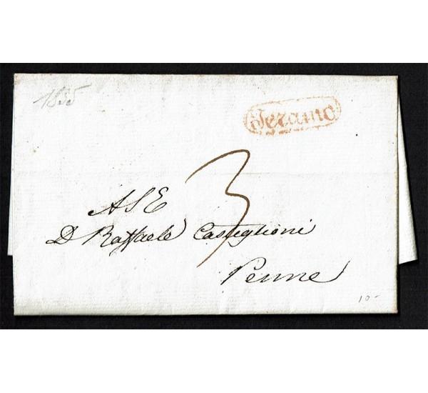 1835 Prefilatelica tassata da Teramo a Penne con testo