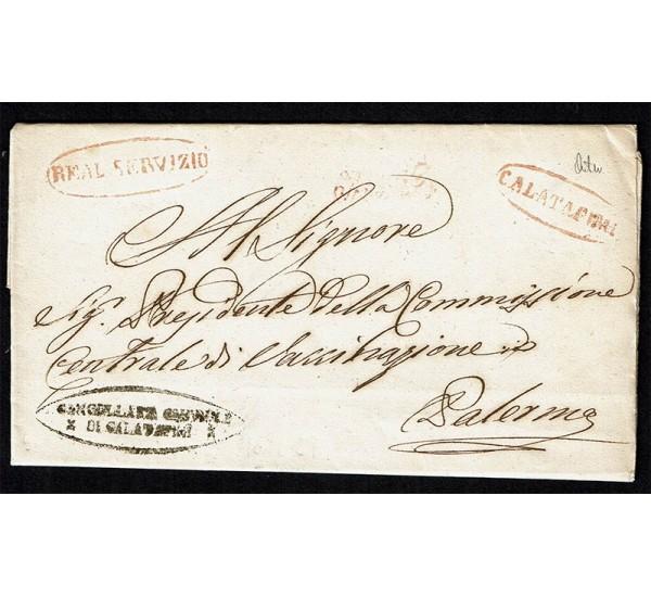 1857 Prefilatelica da Calatafimi a Palermo con testo
