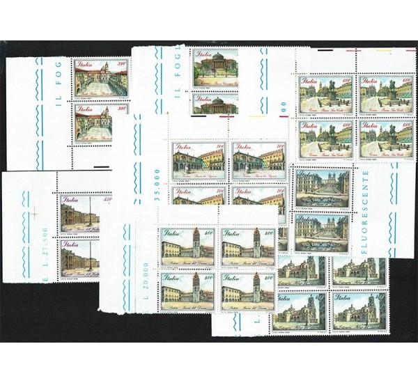 1987/89 Le piazze d'Italia Quartine angolo foglio MNH/**
