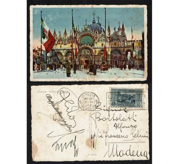 1932 10cent Garibaldi su Cartolina da Venezia FP/C Targhetta