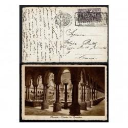 30cent Virgilio su cartolina Monreale chiostro benedettini Targhetta
