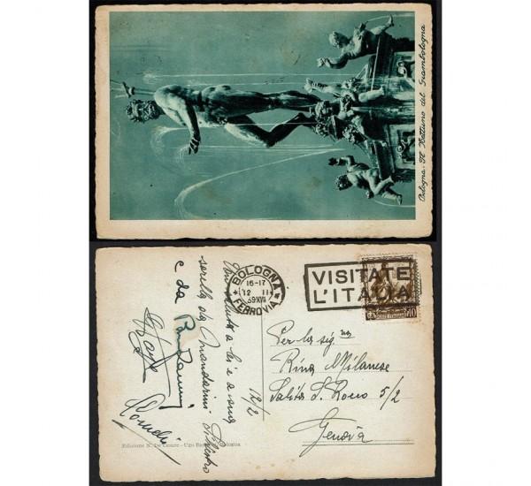 1939 10cent Impero su cartolina FP Nettuno Giambologna