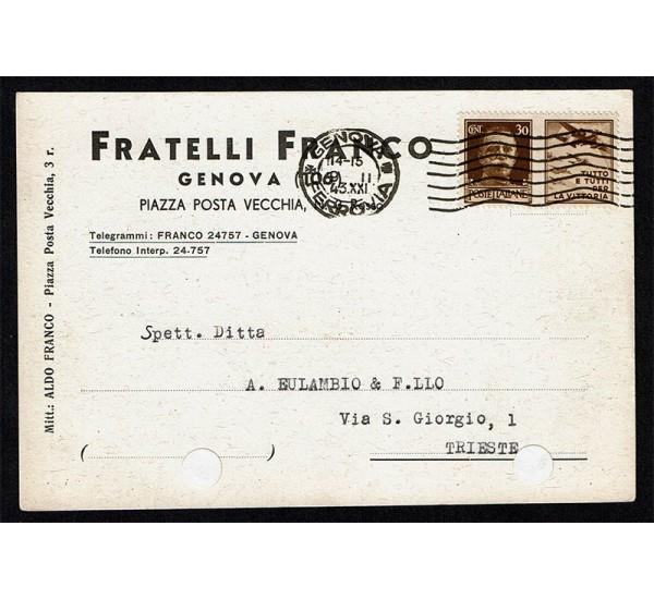 1943 propaganda di guerra su cartolina da Genova