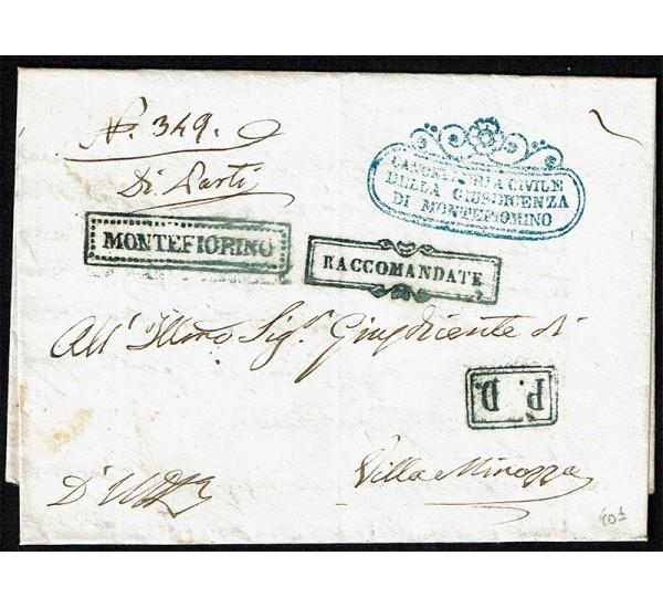 1858 Prefilatelica Raccomandata da Montefiorino a Villa Minozzo
