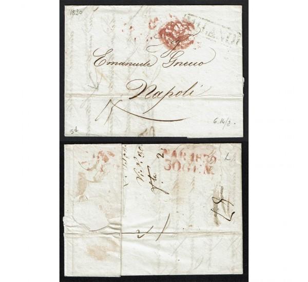 1830 Prefilatelica con testo da Milano a Napoli tassata