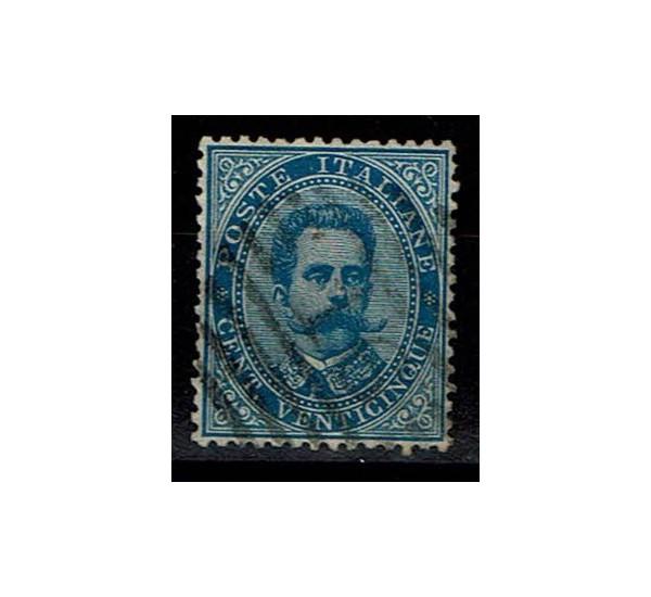 1879 Umberto I - 25cent azzurro Sas.40 usato