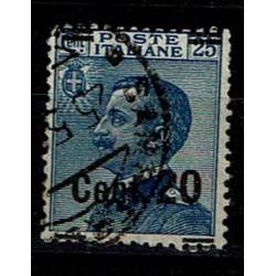 1924 varietà sovrastampa spostata Sas.176 20c su 25c usato