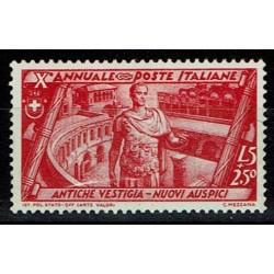 1932 Decennale Marcia Roma Sas.340 Lire 5 + 2,50 MH/*