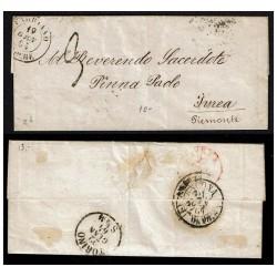 1864 Prefilatelica da Fabriano a Ivrea via Ancona Torino
