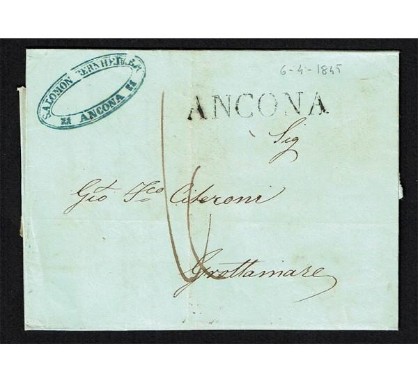 1845 lettera Prefilatelica da Ancona a Grottammare