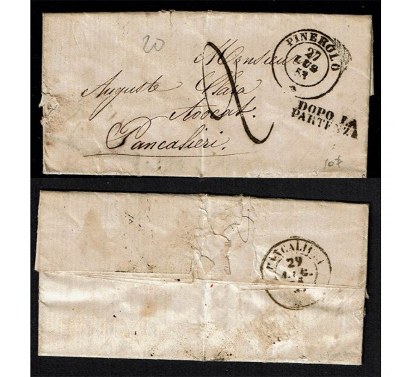 1853 Prefilatelica da Pinerolo a Pancalieri con testo