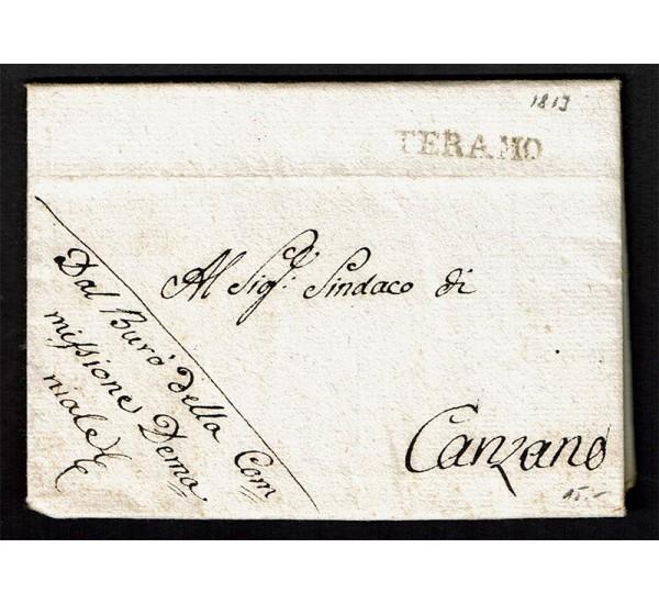 1813 Prefilatelica da Teramo a Canzano con testo
