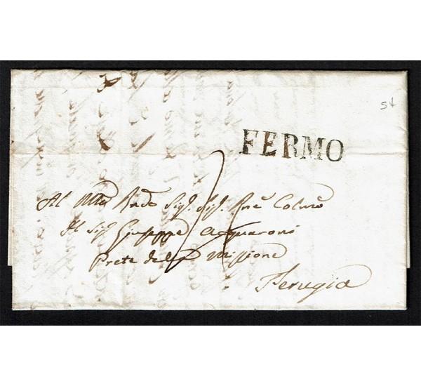 1842 Prefilatelica da Fermo a Perugia con testo