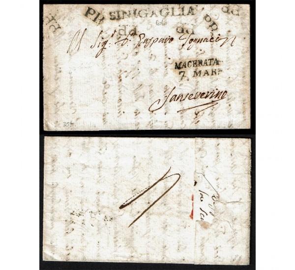 1812 Prefilatelica da Sinigaglia per San Severino Marche via Macerata