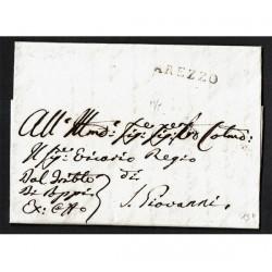 1822 Prefilatelica da Arezzo a San Giovanni Valdarno con testo