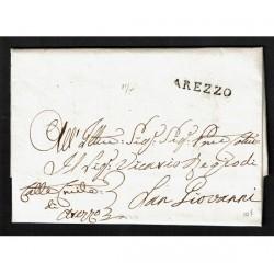1823 Prefilatelica da Arezzo a San Giovanni Valdarno con testo
