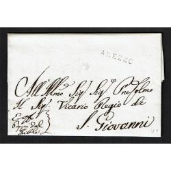 1821 Prefilatelica da Arezzo a San Giovanni Valdarno con testo