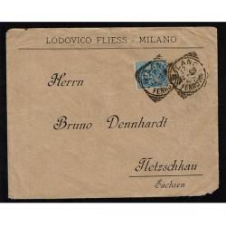 1893 Lettera da Milano a Netzschkau 25c Umberto I isolato