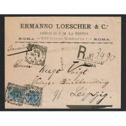 1901 Raccomandata da Roma per Lipsia