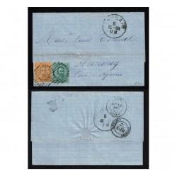 1881 Lettera con testo da Sassari a Annonay (via Livorno - Lione )