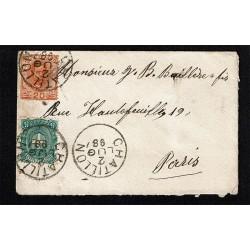 1898 lettera da Chatillon (Aosta) per Parigi - bicolore