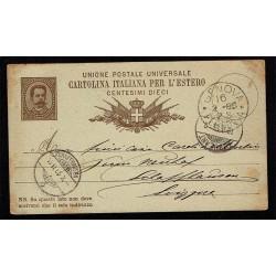 1885 Cartolina Postale 10c Umberto I Genova - Schaffhausen (Svizzera)