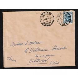 1923 25cent Floreale isolato su lettera Levico per Richterswil