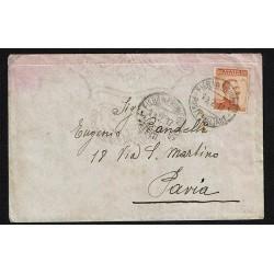 1917 20cent Michetti isolato su lettera da Fiera di Primiero a Pavia