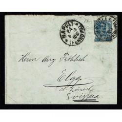 1908 25cent Floreale isolato su lettera Napoli per Elgg