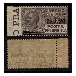 1924 Regno Posta Pneumatica 20c su 15c Sas.6 MNH/**