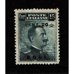 1916 Colonie Rodi 20c su 15c tipo Michetti sovrastampato MNH/**